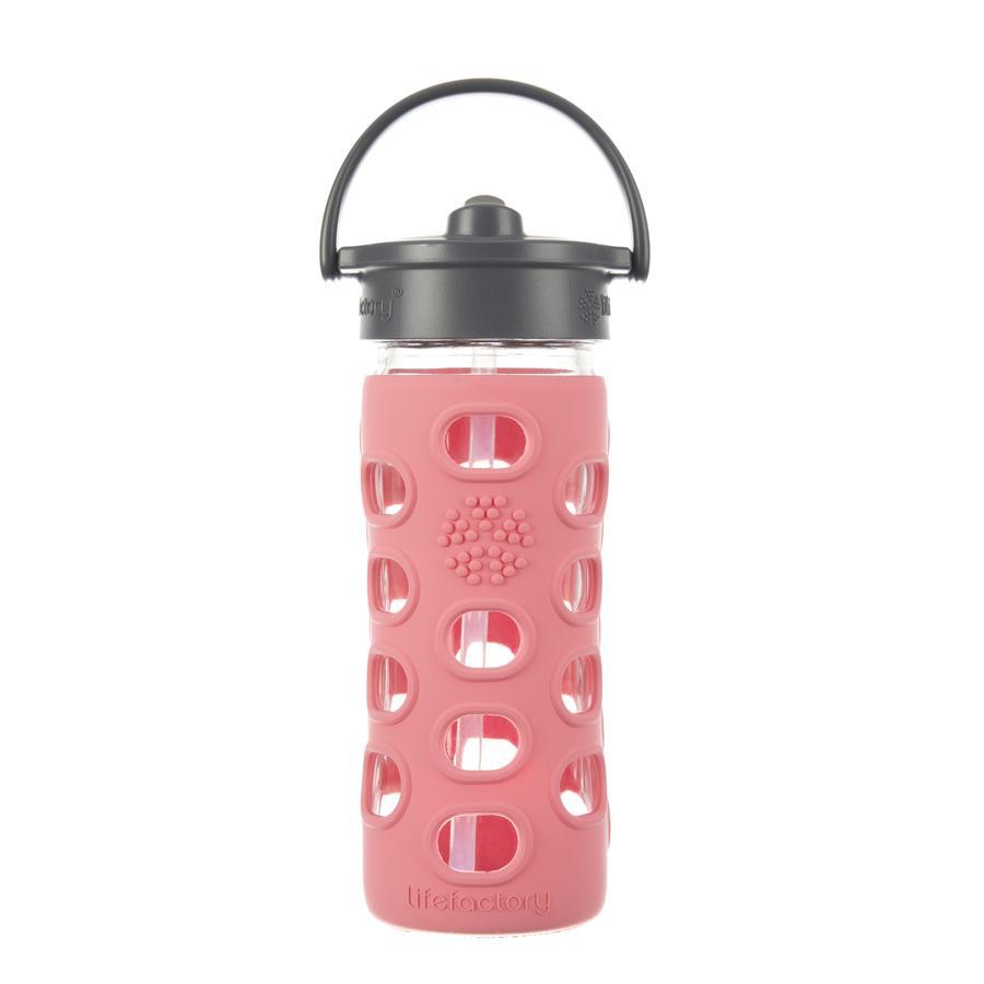 """LIFEFACTORY Vattenflaska Glas """"coral"""" med tätt lock 350ml"""