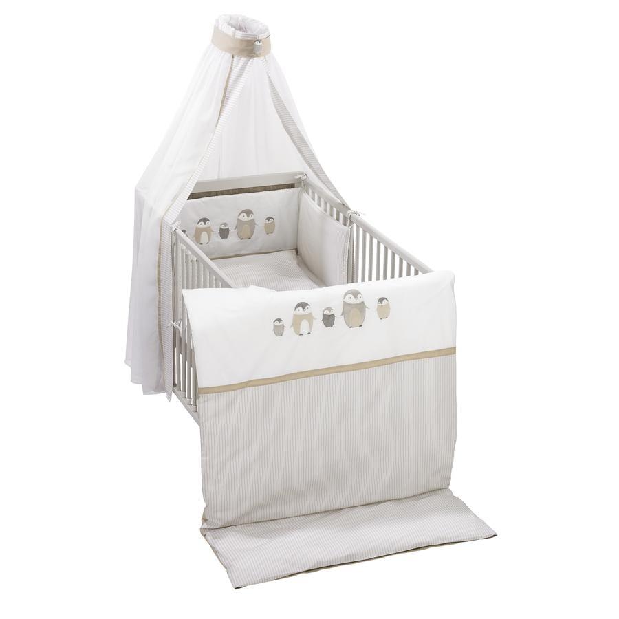 Alvi® Parure de lit enfant Famille Pingouin beige 100x135 cm