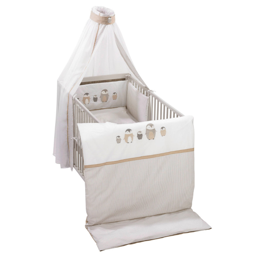 "ALVI Set biancheria lettino ""Pinguini"" beige 100x135 cm"