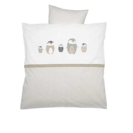 ALVI Parure de lit broderie Famille Pingouin, beige, 80 x 80 cm