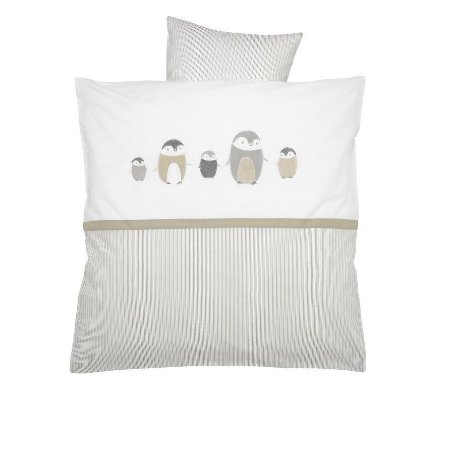 ALVI Juego de sábanas con bordados Familia pingüino beige 80x80 cm