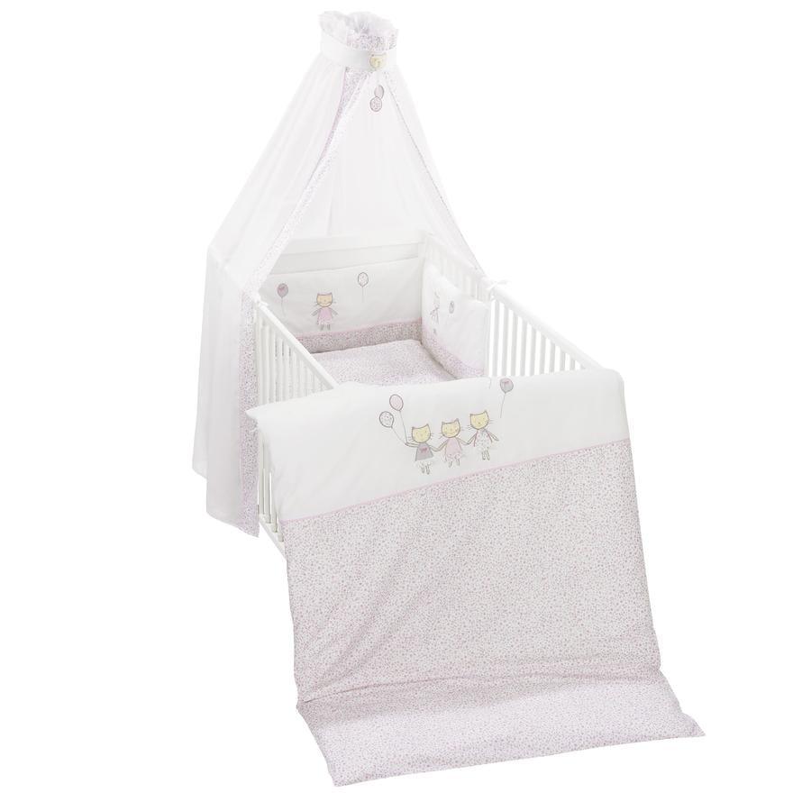 ALVI Sada do postýlky s výšivkou, kočky, růžové 100x135 cm