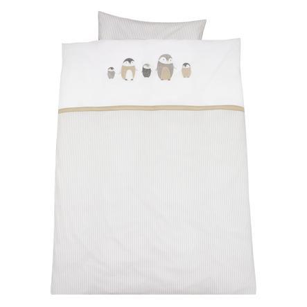 ALVI Juego de sábanas con bordados Familia pingüino beige 100x135 cm