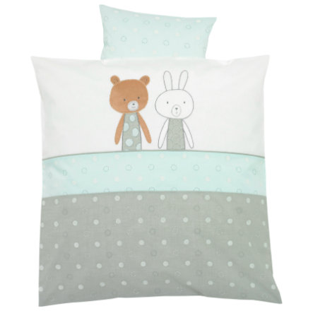 Alvi® Parure de lit enfant Friendship bleu 80x80 cm