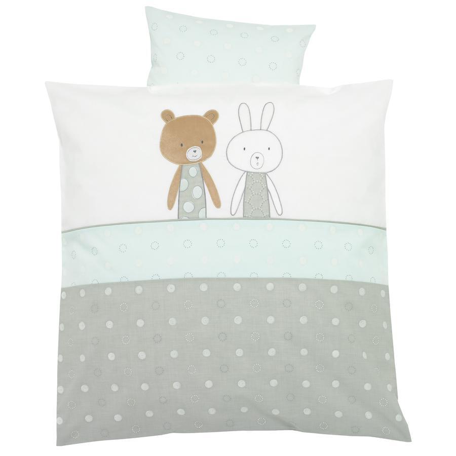 ALVI Parure de lit avec broderie Friendship, bleu, 80 x 80 cm