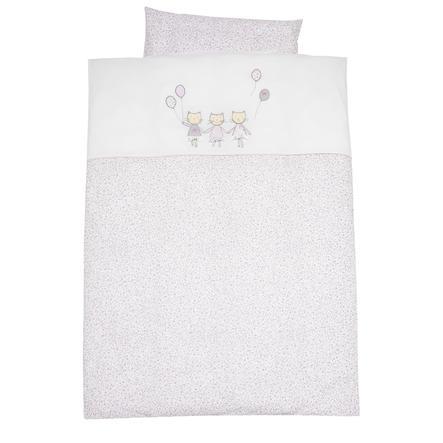 ALVI Ropa de cama bordados gatos rosa 100x135 cm