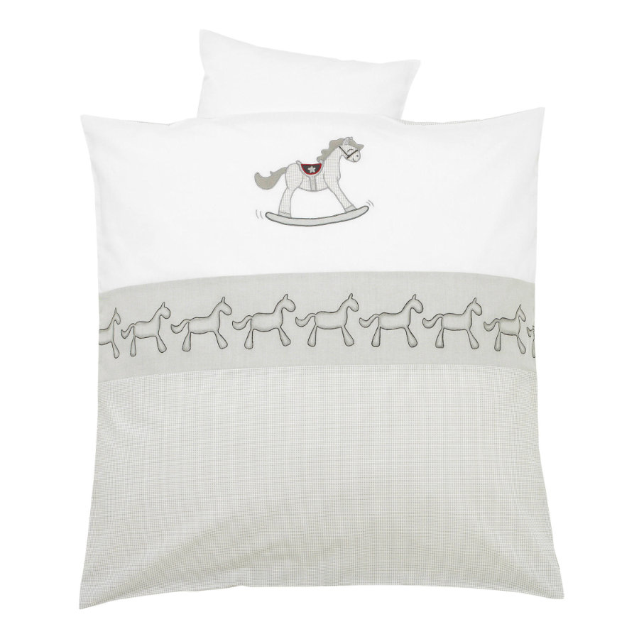 ALVI Parure de lit avec broderie Rocking Horse, gris, 80 x 80 cm