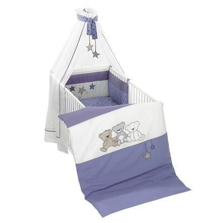 ALVI Set de lit avec broderie Enfants des ours, bleu, 100 x 135 cm