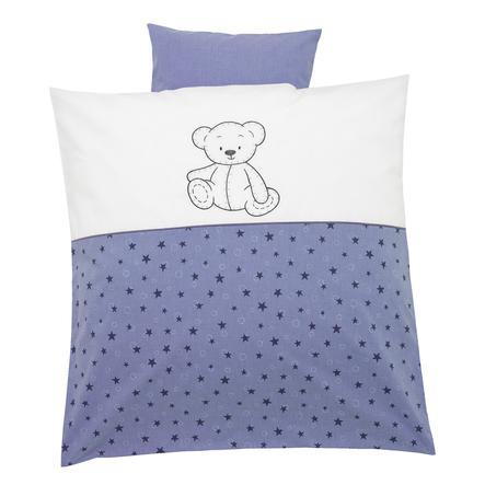 ALVI Parure de lit avec broderie Enfants des ours, bleu, 80 x 80 cm