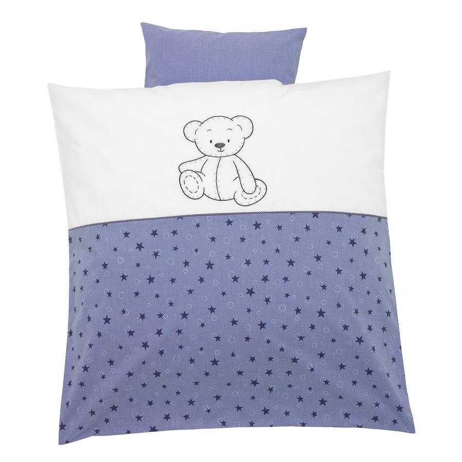 ALVI Bettwäsche Stickerei Bärenkinder blau 80x80 cm