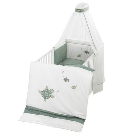 ALVI Set de lit avec broderie Tortues, vert, 100 x 135 cm