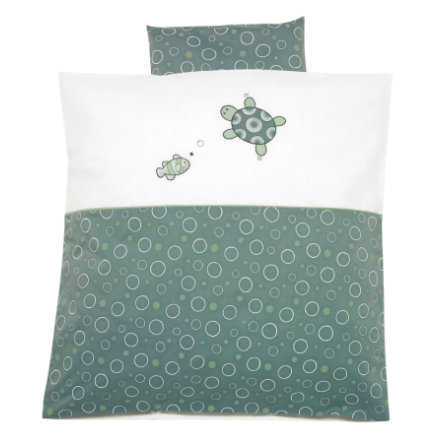 ALVI Parure de lit avec broderie Tortue, vert, 80 x 80 cm
