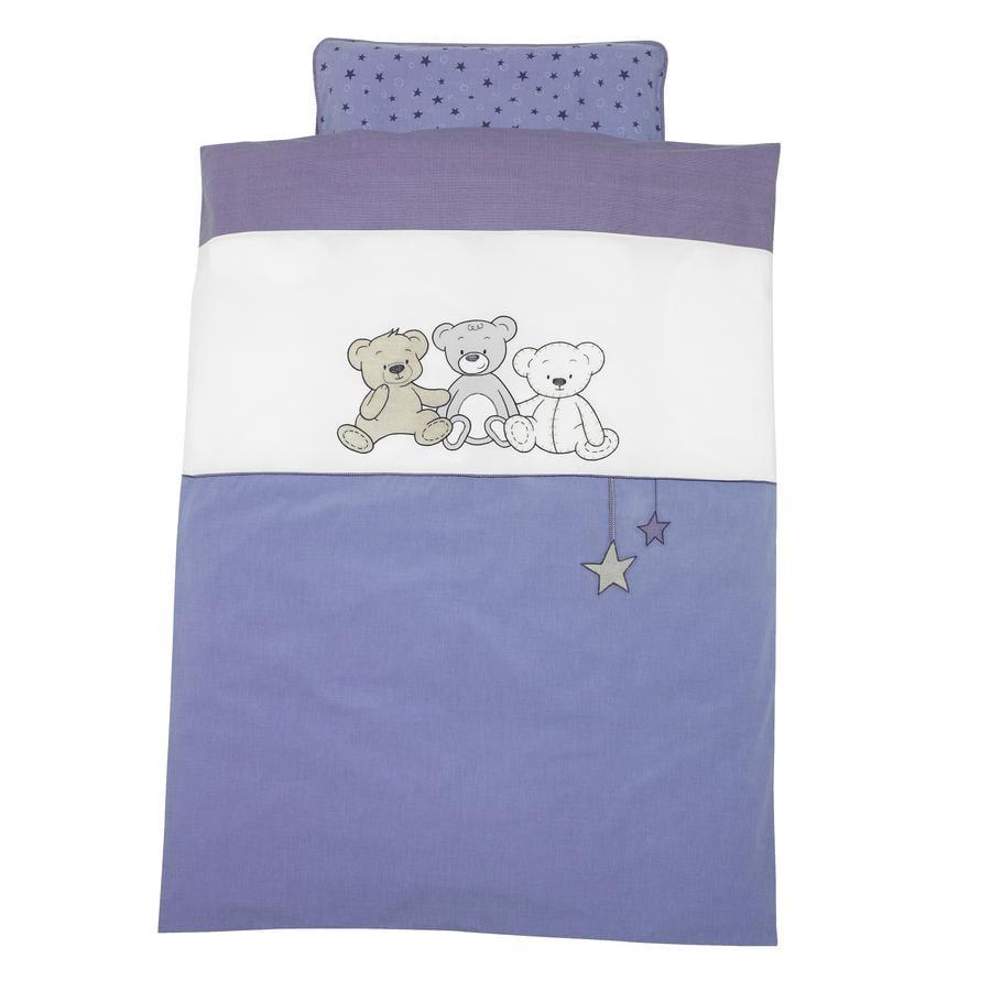 ALVI Parure de lit avec broderie Enfants des ours, bleu, 100 x 135 cm