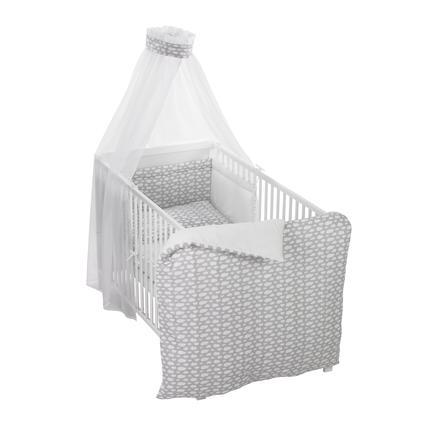 Alvi® Parure de lit enfant Voile à nuages gris 100x135 cm 3 pièces