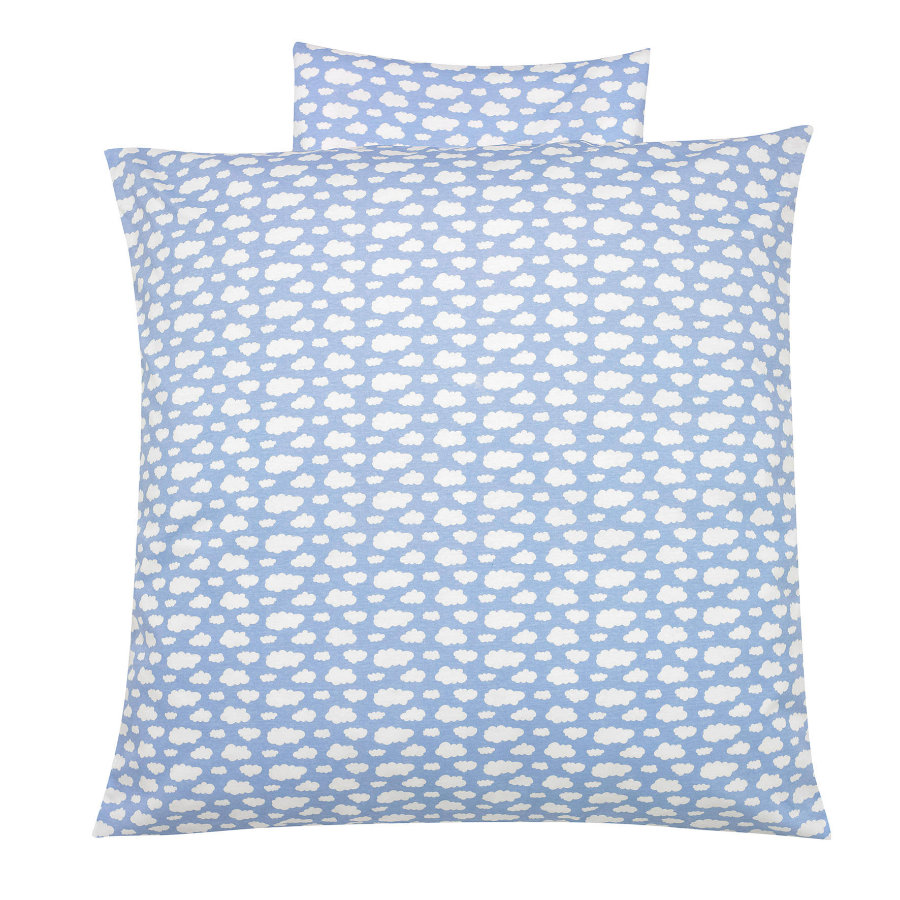 ALVI Parure de lit Voile à nuages, bleu, 80 x 80 cm