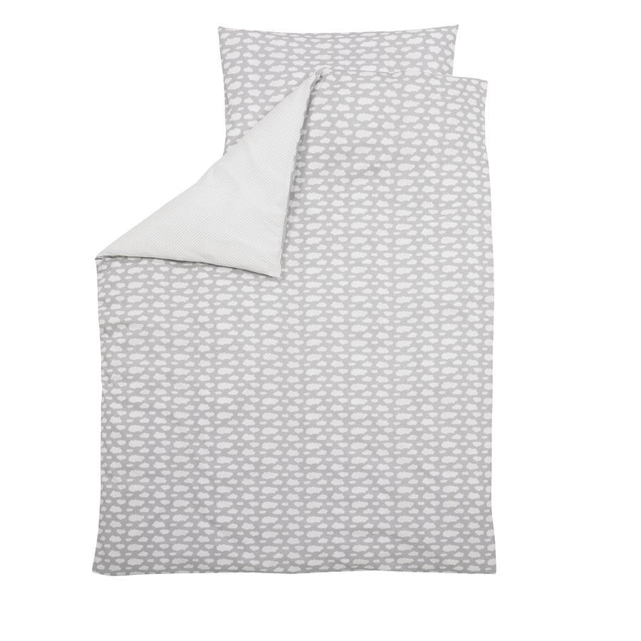 Alvi® Parure de lit enfant Voile à nuages gris, 100x135 cm