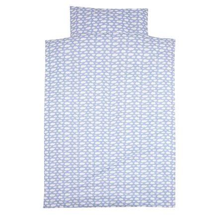 ALVI Set biancheria lettino ''Nuvole'' Voile blu 100x135 cm
