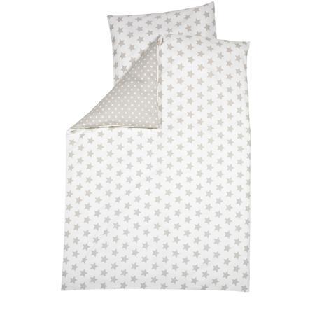 ALVI Parure de lit Grandes étoiles, beige, 100 x 135 cm
