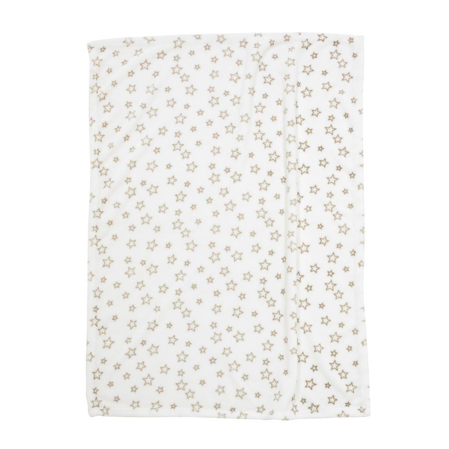 ALVI Couverture microfibres Étoiles, beige, 75 x 100 cm
