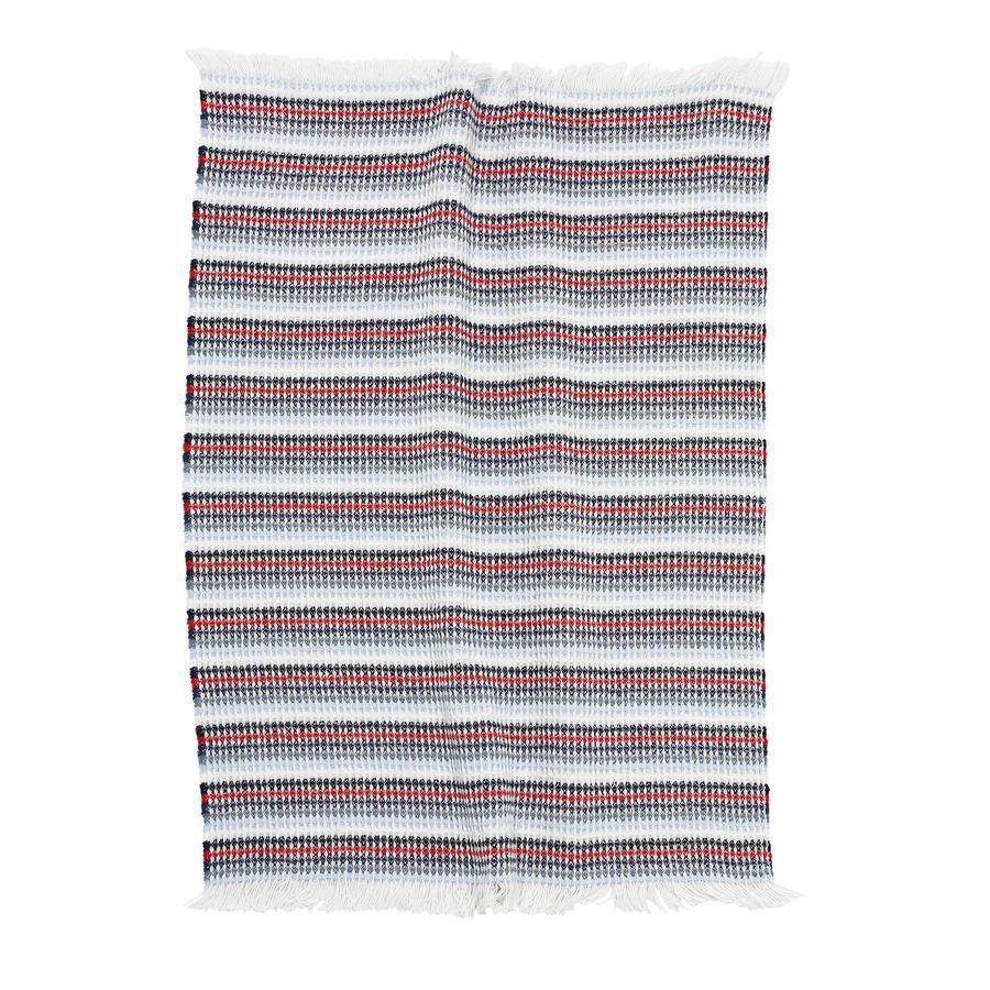 ALVI Couverture coton, Navi, rayures, 75 x 100 cm