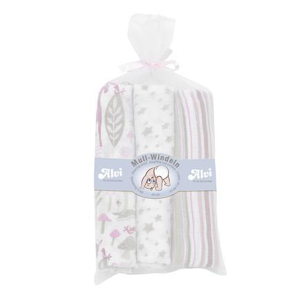ALVI Set pannolini in cotone rosa