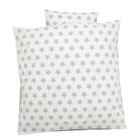 Alvi Ropa de cama 80 x 80 cm grande Estrellas beige