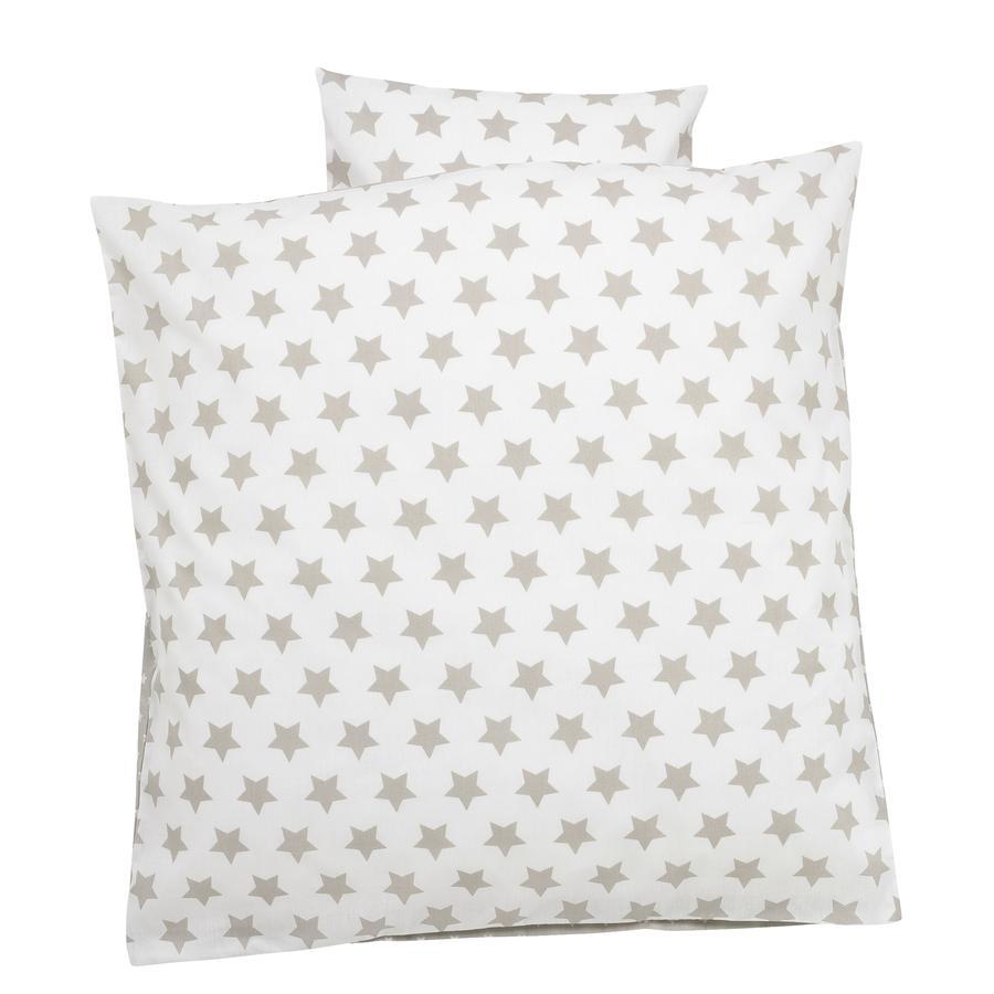 ALVI Parure de lit Grandes étoiles, beige, 80 x 80 cm