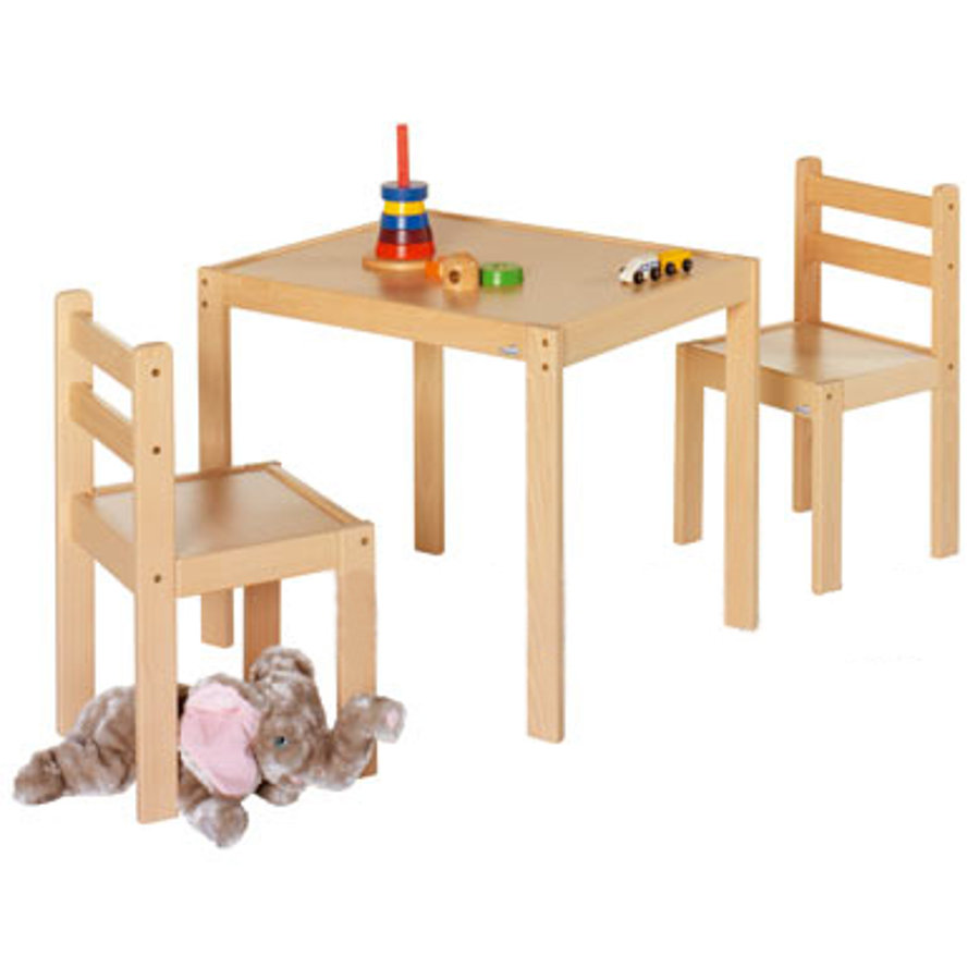 GEUTHER Juego de mesa y sillas KALLE & CO madera natural