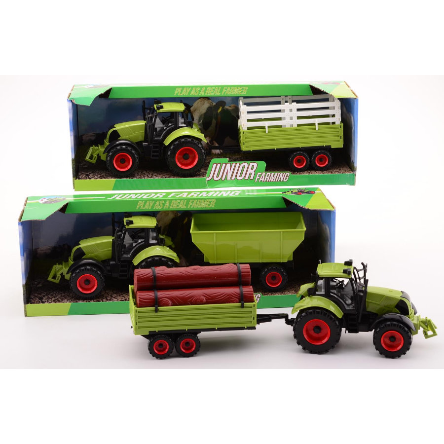 JOHNTOY Super Cars - Junior Farming Traktor-zestaw, duży