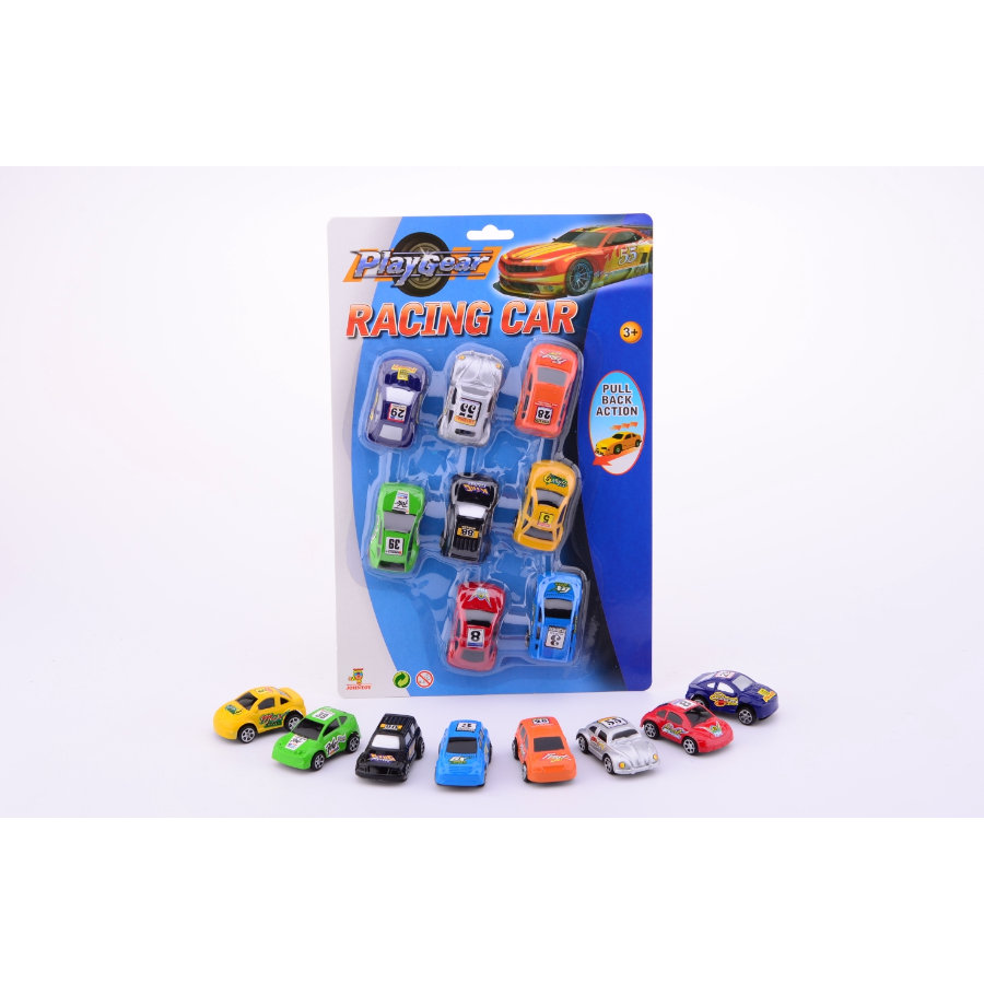 JOHNTOY Boys - Macchinine Play Gear Action Racing, 8 pezzi