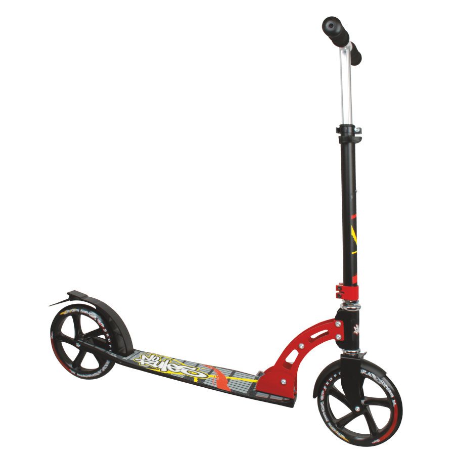 AUTHENTIC SPORTS Aluminium Scooter No Rules 205mm, schwarz-rot-gelb