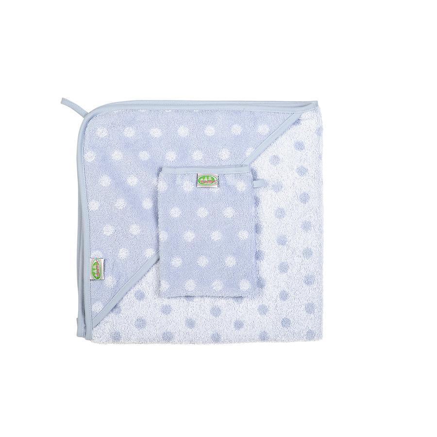 odenwälder Frotteesæt Håndklæde med hætte og vaskehandske Prikker sølv