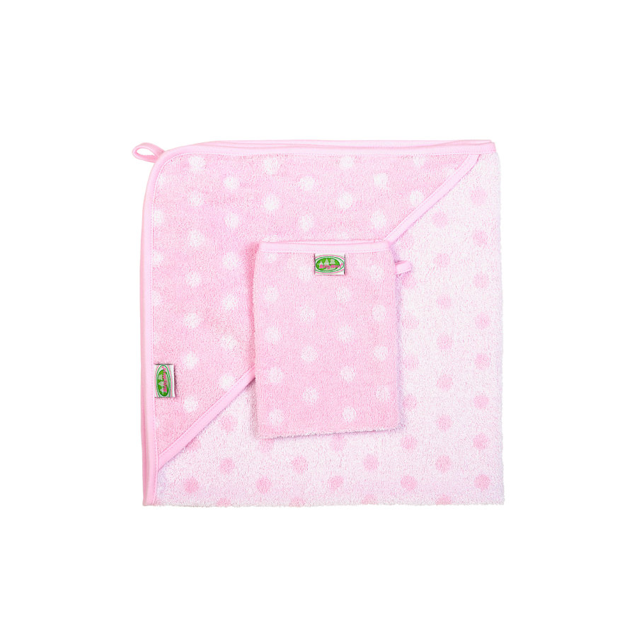 ODENWÄLDER Badcape en washandje - roze met stippen