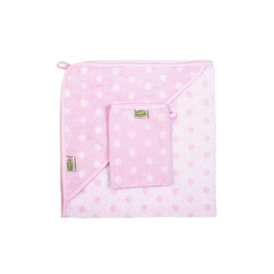ODENWÄLDER Froté set ručník s kapucí a žínkou s puntíky růžové