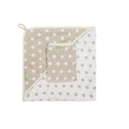 ODENWÄLDER Frottee Ręcznik kąpielowy i myjka Kropki beige