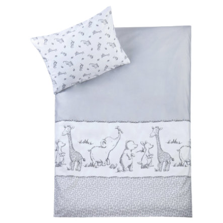 JULIUS ZÖLLNER Biancheria da letto 100/135cm Safari bianco/grigio