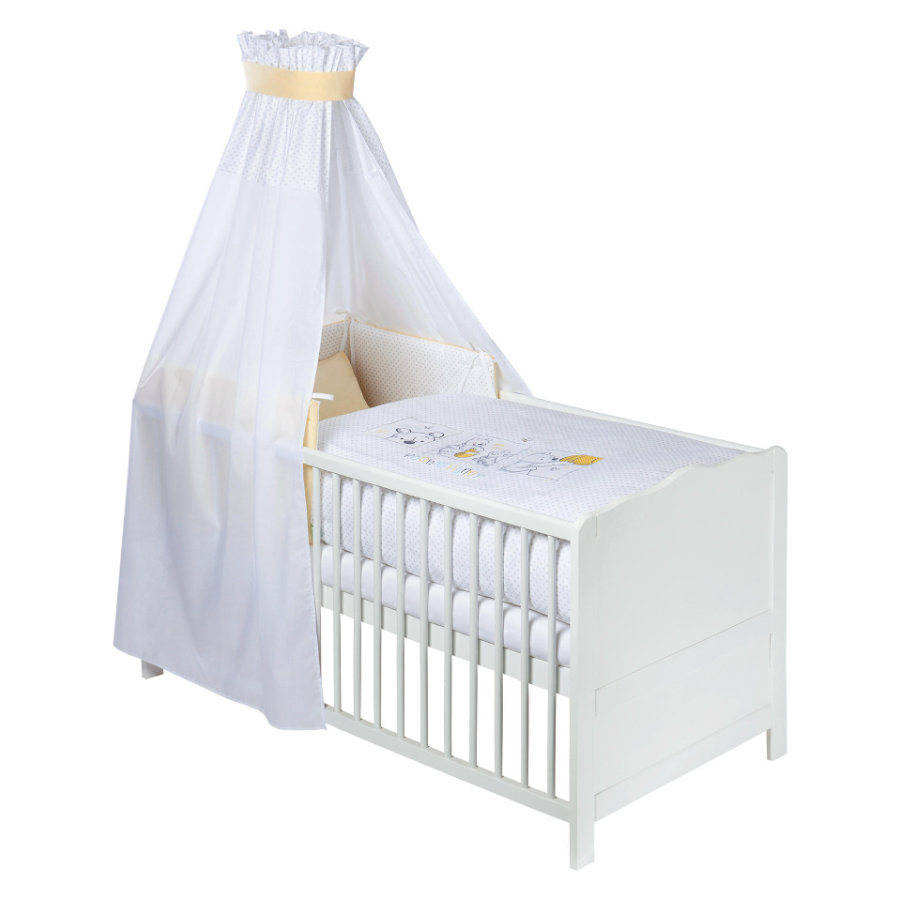 julius z llner bettset 3 tlg 100 135 cm 40 60 cm pooh and hunny wei gelb baby. Black Bedroom Furniture Sets. Home Design Ideas