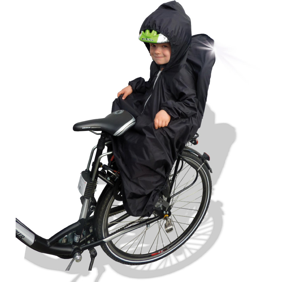 SUNNYBABY Cape de pluie pour siège de vélo enfant, avec manches, noir