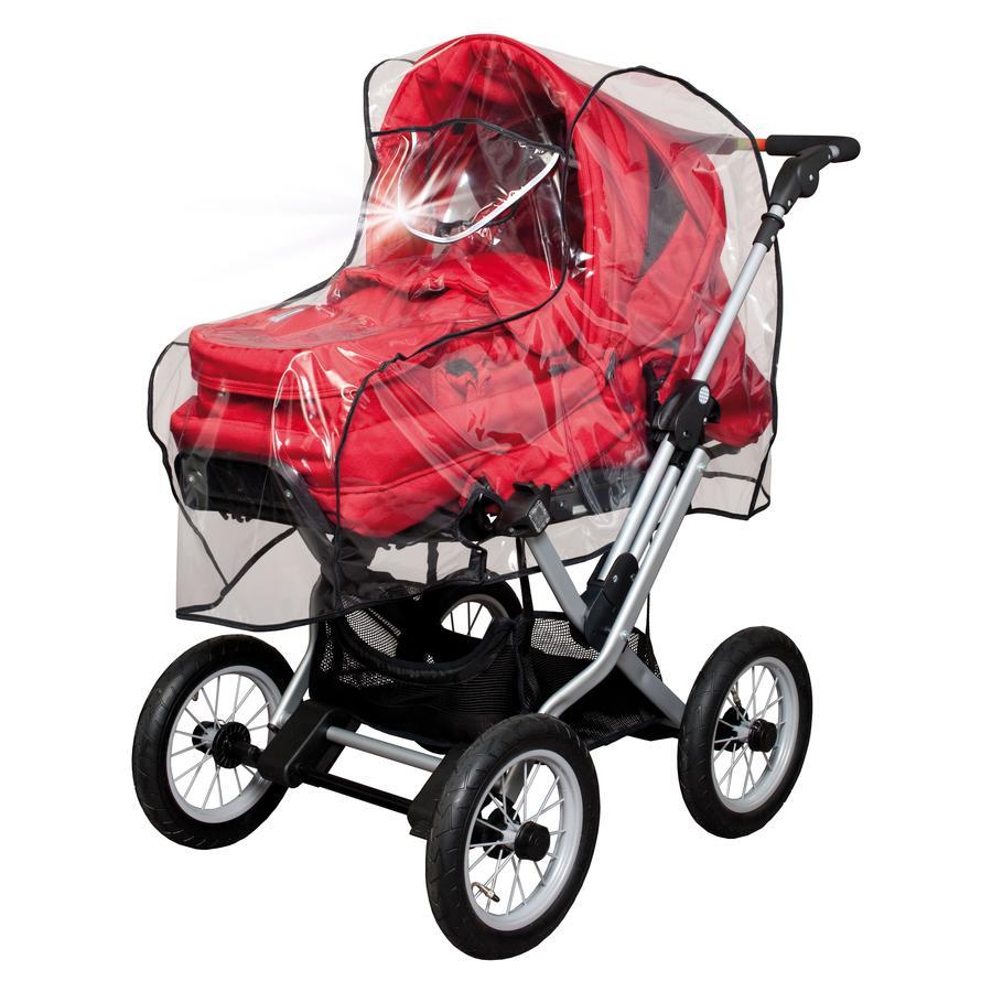 SUNNYBABY Regenhoes met reflectorstrepen voor kinderwagen met klapbare duwstang