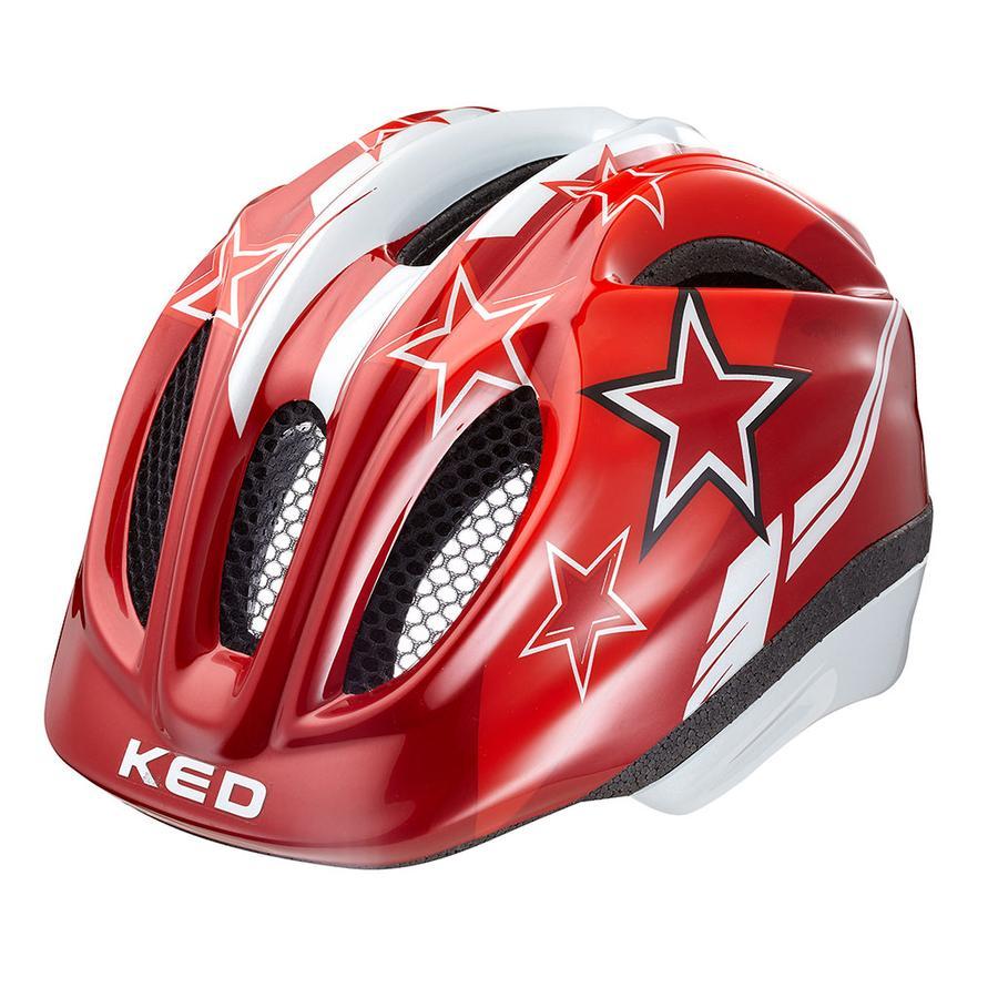 KED Casque de vélo enfant Meggy Red Stars T. XS, 44-49 cm
