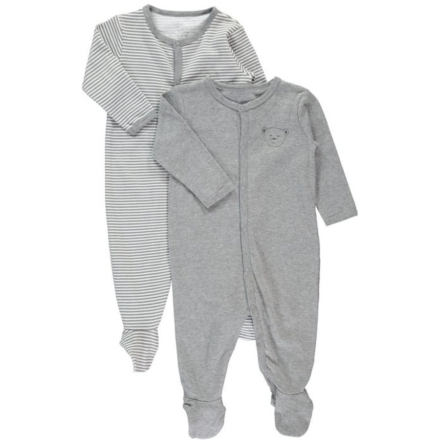 NAME IT Baby Schlafoverall 2er Pack grey melange
