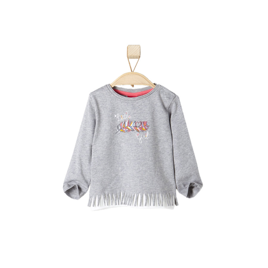 s.OLIVER Girls Maglietta a Manica Lunga light grey melange