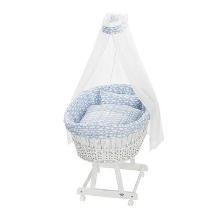 ALVI Set pour berceau Birthe, Voile à nuages, bleu, 80 x 80 cm