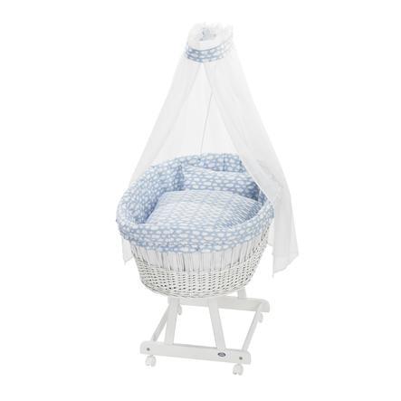 Alvi Zestaw zestawu bassinet set 3 szt., Voile niebieski chmura
