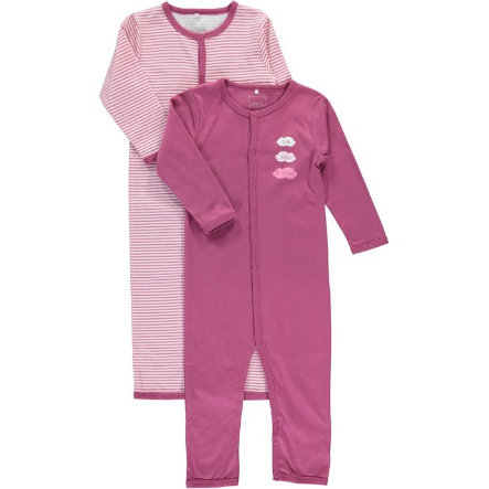 name it Girl s Sleeping overall 2er Pack rojo violeta