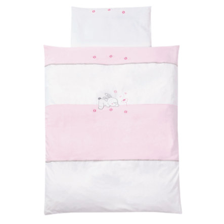 EASY BABY Parure de lit Lapin rosé, 80 x 80 cm