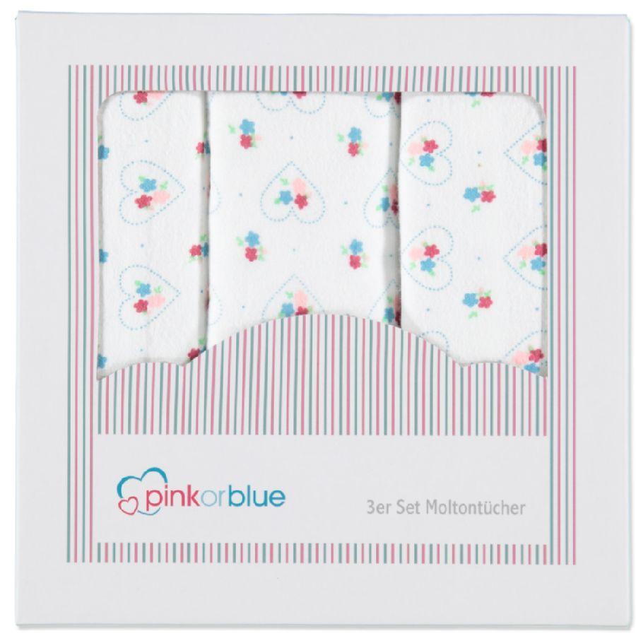 PINK OR BLUE EXCLUSIEF Molton doeken 3 stuks kleuren