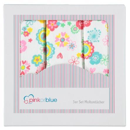 PINK OR BLUE EXKLUSIV Moltonové plenky 3 ks MILLEFLEUERS