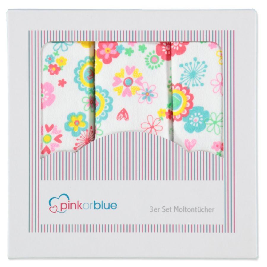 PINK OR BLUE EXKLUSIV Pieluszki muślinowe 3 szt. kolorowe wzorki