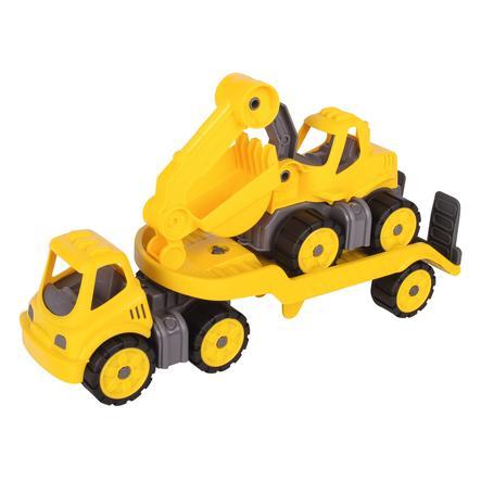 BIG Power Worker Mini Camión de remolque + excavadora